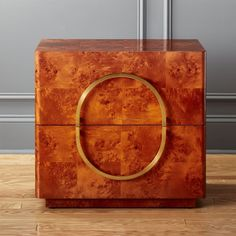 Shop burl wood nightstand. From our friends at Mermelada Estudio in Spain, stunning nightstand was designed with vintage art deco in mind.