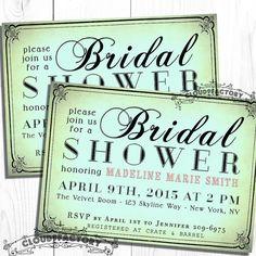 Digital Bridal Shower Invitation - Tiffany Blue Turquoise Salmon Calligraphy - Printable diy invite - No.200