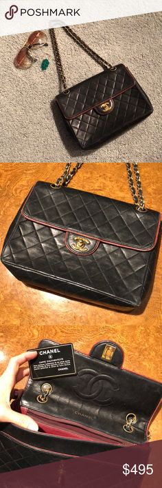 af90fa699955 CHANEL black vintage lambskin classic flap handbag In excellent used  condition - insides are clean except