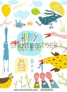 Brightly Colored Fun Cartoon Animals Happy Birthday Greeting Card. Bizarre countryside baby animals illustration for children. Vector EPS10.