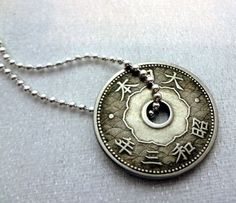 Coin jewelry - Antique Japanese 10 sen coin necklace - decorative holed coin - silverplated ball chain - Japan - Asian style - kanji