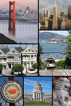 De haut en bas, de gauche à droite:Le Golden Gate Bridge, Financial District, des maisons victoriennes, un cable car, Fisherman's Wharf, l'...