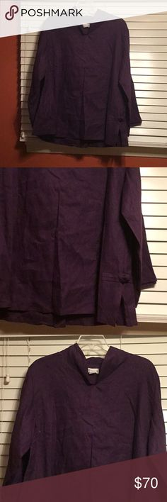 """Linen toggle purple hanky linen blouse material: eco linen design: 1. chipao collar asian blouse with elegant collar and a side slit and fabric toggle 3/4 sleeve length 17"""" around . blouse length 33"""" front and back. ( a great choice if you prefer to cover over belly) Annyschow Eco Linen Tops Tunics"""