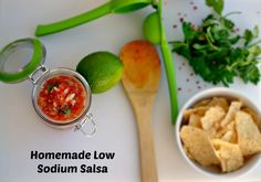 Homemade Low Sodium Salsa is perfect with homemade low sodium tortilla chips, this salsa is bursting with fresh flavors your family will enjoy!