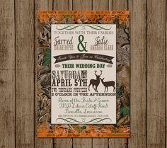 Customized Wedding Invitation Camo Orange Deer by andyneal331, $20.00