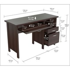 Inval Softform Espresso Computer Desk   Overstock.com Shopping - The Best Deals on Desks