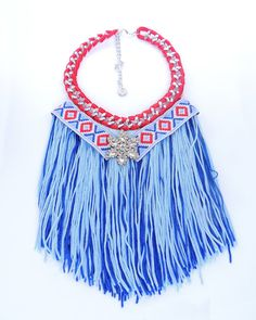 Fringe necklace tribal necklace Aztec necklace by JewelryLanChe https://www.etsy.com/listing/230045843/fringe-necklace-tribal-necklace-aztec?ref=shop_home_active_1 #fringe #coachella #jewelry