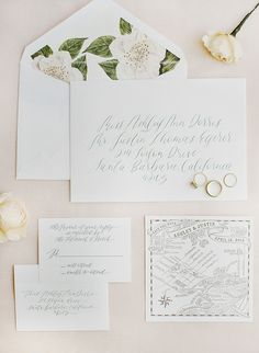Spring white and floral hand-calligraphed wedding invitation paper suite: Photography : Kristen Beinke Read More on SMP: http://www.stylemepretty.com/2016/10/07/san-ysidro-ranch-garden-wedding/