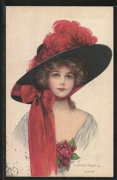 old postcard: Künstler-AK Frauenporträt mit Schleife am Hut