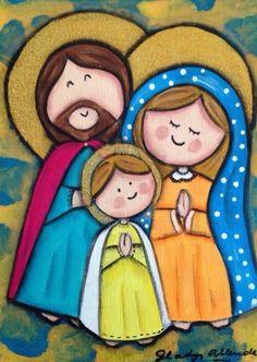 JESÚS, JOSÉ, MARÍA, A TODOS NOS GUSTARÍA VIVIR CON USTEDES, EN LA CASITA DE NAZARET. QUÉ LINDO SERÍA !!! Blessed Mother Mary, Blessed Virgin Mary, Religious Images, Religious Art, Christmas Nativity, Christmas Art, Arte Country, Mama Mary, Holy Mary