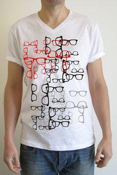 Wearing Glasses Printed TShirt with Custom Sleeves by inklov, €19.00