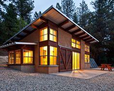 872 s.f. off-grid straw-bale Chalk Hill Cabin by Arkin Tilt Architects.
