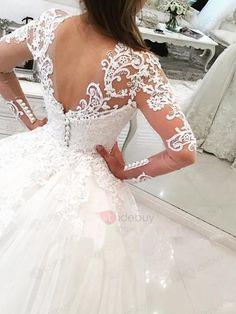 Tidebuy.com bietet hohe QualitätTüll Applikation Reißverschluss Schleppe HochzeitskleidWir haben mehr Arten fürHochzeitskleider 2017