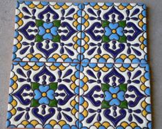 90 Mexican Talavera Tiles handmade Hand painted 4 by MexicanTiles