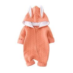 * 3d ears hooded<br /> * Soft and breathable<br /> * Front zip-up design<br /> * Material: 95% Cotton, 5% Others<br /> * Machine wash, tumble dry<br /> * Imported<br /> <br /> In super soft cotton, this 1-piece keeps him comfy from nap time to tummy time! Zip-up design makes getting dressed a breeze.