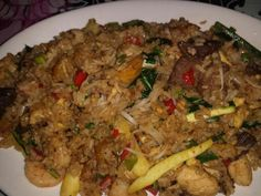Cuban Chino Fried Rice with Chicken Beef Shrimp and Sweet Plantains from Bongos Hard Rock
