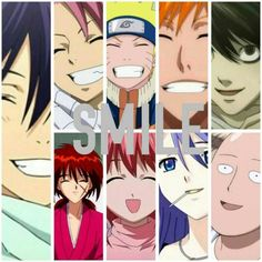 Smile, text, anime characters, Yato, Noragami, Natsu, Fairy Tail, Naruto, Ichigo, Bleach, L, Death Note, Saitama, One Punch Man; Anime Please tell me the names of the missing Animes and/or characters if you know