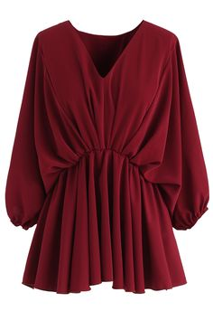 Batwing Sleeves Asymmetric Peplum Top in Wine - TOPS - Retro, Indie and Unique Fashion Stylish Dress Designs, Designs For Dresses, Stylish Dresses, Girls Fashion Clothes, Fashion Outfits, Look Fashion, Unique Fashion, Mode Hijab, Muslim Fashion