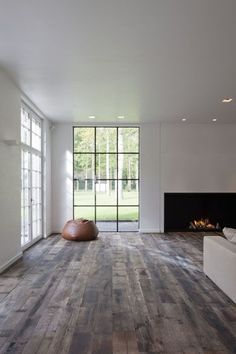 family/living area- open space- dark wood floors, white walls