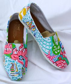 Lilly Pulitzer Inspired Hand Painted Toms - Custom Orders on Etsy
