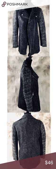 BCBG Generation Tweed Moto Style Jacket Women's size M, pre owned but in excellent condition. Motorcycle inspired tweed jacket with zippered accents. Black and white, hip length, fully lined. BCBGeneration Jackets & Coats Utility Jackets