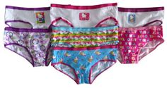 Hello Kitty Girls' 7 Pair Hipster Panty Pack (12 (W25in/Wght 84-94lbs)) Elastic waistband provides pull-on ease.. Hipster styling hits at the hip and provides full coverage. 7-pack. Cool prints these Hello Kitty girls' hipsters ensure cute style..  #HelloKitty #Apparel