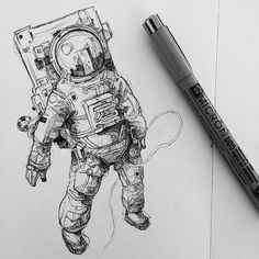 Moleskine arts космос çizilecek şeyler, drawing и çizimler. Drawing Sketches, Art Drawings, Drawing Ideas, Fan Art, Art Inspo, Art Reference, Amazing Art, Illustration Art, Astronaut Illustration