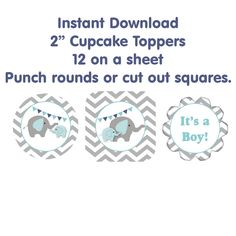 Elephant+Baby+Shower+Cupcake+toppers+Its+a+by+FUNDigitalDesigns,+$5.00