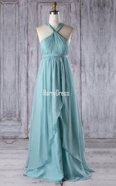 Light Blue Empire V Neck Chiffon Floor Length Ruffles Bridesmaid Dress