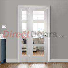 Easi-frame shaker 4 pane white primed door and frame room dividers, the smallest option. Room Divider Doors, Room Dividers, Kitchen Diner Extension, The Doors, Architrave, Door Sets, Internal Doors, Double Doors, Home Decor Inspiration