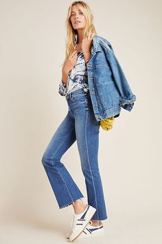 MOTHER The Weekender High-Rise Frayed Bootcut Jeans by in Blue Size: Women's Denim at Anthropologie Mother Denim, Fashion 2020, Spring Outfits, Bell Bottom Jeans, Fashion Outfits, Weekender, Anthropologie, How To Wear, Clothes