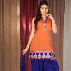 Orange Chanderi Cotton Readymade Salwar Kameez