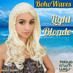 Boho Waves in Light Blonde is perfect for summer! (http://cosplaywigsusa.com/tokyo-crush-wigs/boho-waves-light-blonde/)