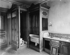 """2fl bathroom wood paneling with carved pilasters <a class=""""caplink"""" href=""""http://www.historic-details.com/historic-houses/connecticut/lockwood-mathews-mansion/"""" target=""""_blank"""">» Article</a>"""