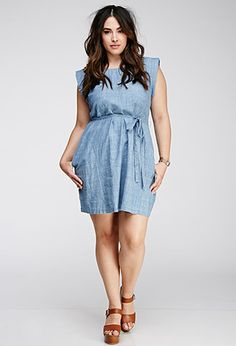 Belted Chambray Dress | Forever 21 PLUS - 2000055026