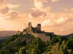"The ruins of Čachtice Castle, former residence of ""The Bloody Countess"", Elizabeth Báthory, in western Slovakia"