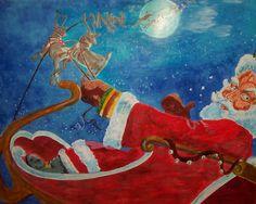 Santa and his Reindeer by Laura Lee Donoho