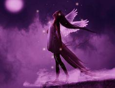 purple angels photo | Purple Angel in the night - angel, purple, girl, fantasy