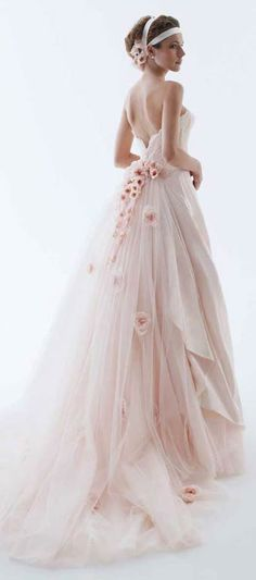 Cherry Blossom Wedding Dress - What a beautiful use of the delicate cherry blossoms in both the dress and the hair decoration. Bridal Gowns, Wedding Gowns, Poofy Wedding Dress, Light Pink Wedding Dress, Princess Style Wedding Dresses, Fairy Wedding Dress, Wedding Dresses With Flowers, Tulle Wedding, Hair Wedding