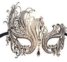 Luxury Mask Women's Swan Metal Filigree Laser Cut Venetian Masquerade Mask Black Without Stones One Size Venetian Masquerade Masks, Masquerade Party, Mask Party, Carnival Costumes, Jackets For Women, Luxury, Metal, Swan, Filigree