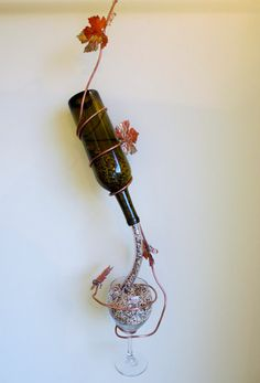 Wine Bottle Bird Feeder Handmade Copper Grape vine with leaves. Self filling into a wine glass. Just pull the cork and serve to you feathered friends. by AtThatOnePlace, $69.50