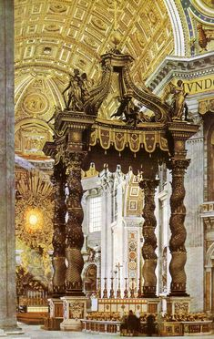 The high altar of St. Peter's, Bernini's most spectacular schievement, is crowned by the cathedra, or throne of St. Peter. The twisted bronze columns of Bernini, support the baldachino, or canopy, over the saint's tomb.—Image:http://www.artchive.com/artchive/B/bernini/bernini_baldachin.jpg.html