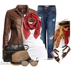 """A brown leather jacket is on my """"to buy"""" list asap. This scarf and brown leather jacket is hands down, put-me-on-that-Harley, GORGEOUS!"""