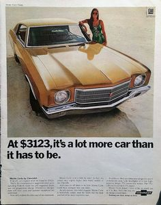 1970 Chevrolet Monte Carlo Advertisement - Chevrolet, Chevy, Ads, Vintage Cars, Car Advertising, Car Wall Decor Vintage Ads Magazine Ads
