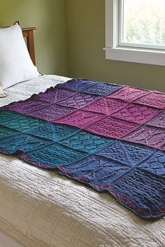 WEBS Mystery Knit-A-Long Blanket  Designed by Sara Delaney, this sampler afghan consists of 4 different stitch patterns. Love the colors!