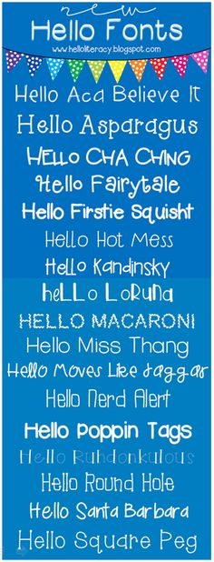 Hello Literacy: 17 New Hello Fonts - No Fooling! ~~ free fonts w/ links} Funky Fonts, Cute Fonts, Typography Fonts, Hand Lettering, Hello Font, Computer Font, Cricut Fonts, Literacy, Viria
