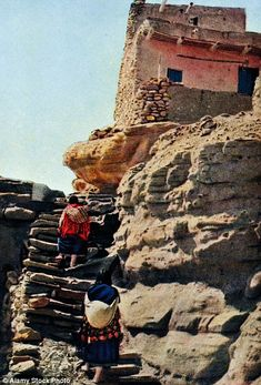 Hard journey: Villagers would have been forced to climb with heavy supplies up the steps to the 360-foot-high historic site