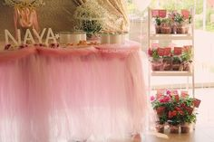 Sweet Table Skirt + Favor Stand from a Pink & Gold Princess Party via Kara's Party Ideas | KarasPartyIdeas.com | The Place for All Things Party! (11)