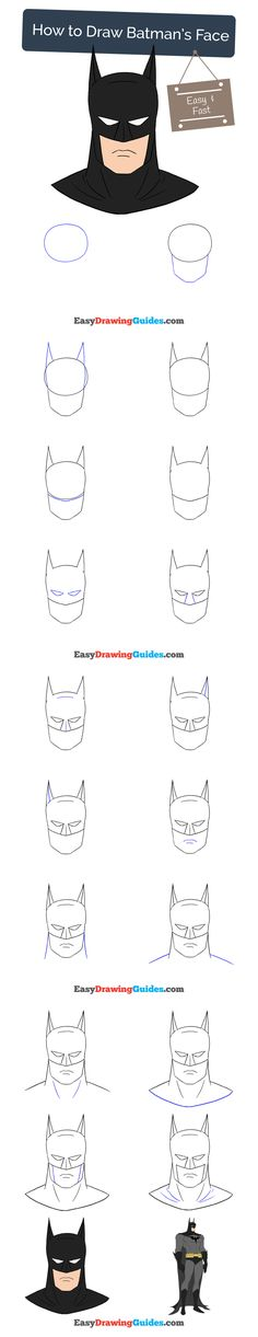 Learn How to Draw Batman's Face: Easy Step-by-Step Drawing Tutorial for Kids and Beginners. #BatmanFace #drawingtutorial #easydrawing See the full tutorial at https://easydrawingguides.com/how-to-draw-batmans-face/.