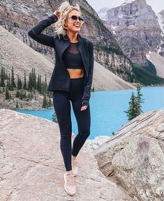 Champagne and Chanel Cute Hiking Outfit, Summer Hiking Outfit, Casual Summer Outfits, Spring Outfits, Hiking Wear, Banff Canada, Camping Outfits, Chanel, Climbing Clothes